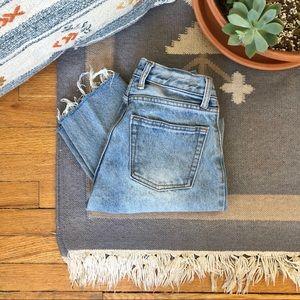 Vintage High Rise Cropped Jeans - Raw Hem